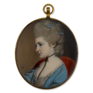 Portrait of Sophia Phillips, seated in a crimson chair, wearing a white dress and blue surcoat, black ribbon bow necklace and grey powdered hair with blue ribbons, circa 1775