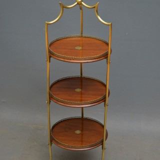 Victorian Walnut and Brass Cake Stand