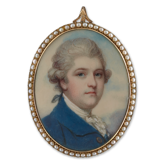 A Gentleman, wearing a blue coat, white jabot and powdered hair en queue, c. 1785