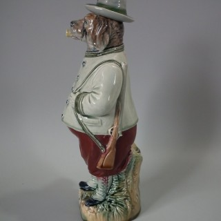 B&L German Majolica Figural Dog Bottle