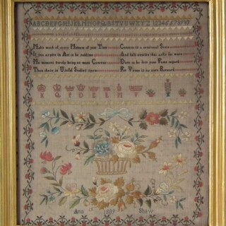 Antique Sampler, 1809, by Ann Shaw