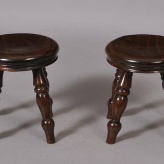 Antique Treen 19th Century Pair of Lignum Vitae Miniature Stools