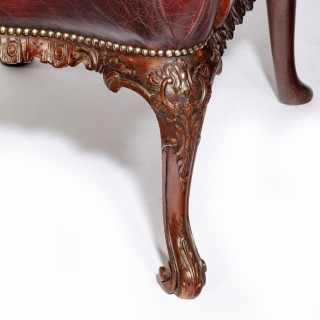 Late Victorian Mahogany open arm chairs in the Chippendale taste