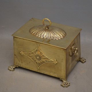 Edwardian Brass Coal Bin