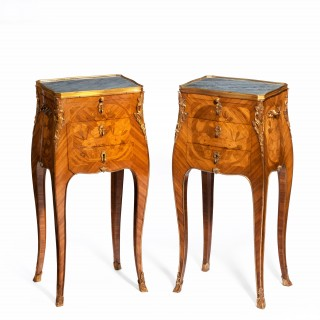 free-standing kingwood marquetry bedside/lamp tables