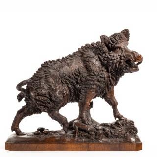 A superb linden wood 'Black Forest' model of a wild boar