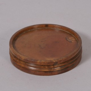 Antique Treen 19th Century Fruitwood Double Sided Pill Rounder