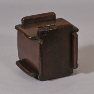 Antique Treen 19th Century Fruitwood Puzzle Money Box