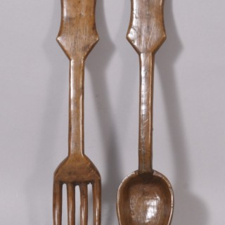 Antique Treen 19th Century Boxwood Spoon and Fork