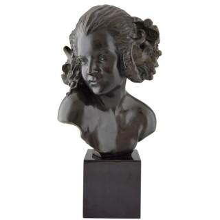 Art Deco bronze bust of a female satyr