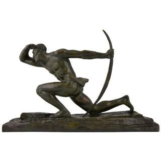 Art Deco bronze sculpture of a male archer