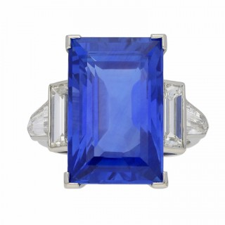 Art Deco sapphire and diamond ring, circa 1935.