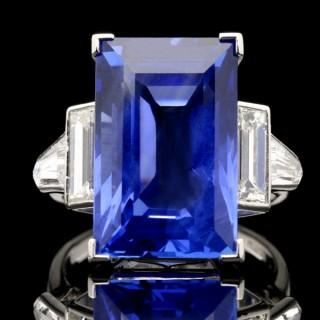 Art Deco sapphire and diamond ring, circa 1935.