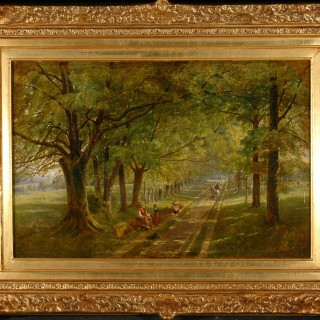 "Oil on Canvas - Thomas Miles Richardson Snr  - Travellers resting in an avenue of trees with a Sheep Drover passing by""."