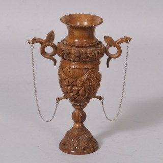 Antique Treen 19th Century Coquilla Nut Chalice