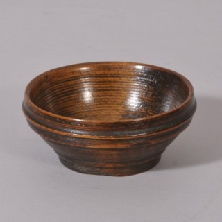 Antique Treen 18th Century Fruitwood Salt or Spice Bowl