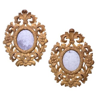 Pair of carved giltwood mirrors, Italy circa 1780