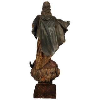 Carved wood sculpture of the Madonna of the Immaculate Conception.  Spain, circa 1750