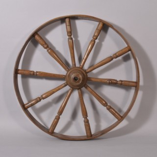 Antique Treen 19th Century Ash Wheel from a Spinning Wheel