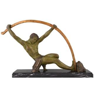 Art Deco sculpture athlete bending a bar, L'age du bronze