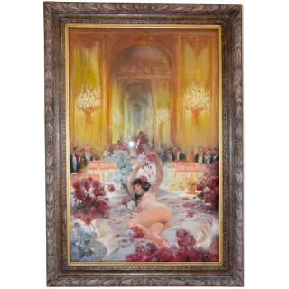 Art Deco Pastel Painting Nightclub Scene With Nude