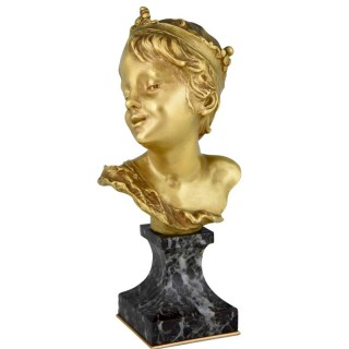 Art Nouveau bronze bust of a boy Petit Roi or Little King