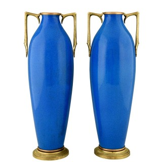 Pair of Art Deco ceramic and bronze vases with blue crackle glaze