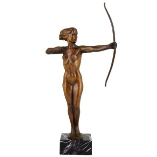Diana, Art Deco bronze sculpture nude with bow.