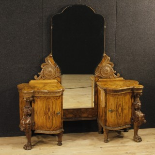 Italian Cheval Mirror In Walnut And Burl Walnut Wood From 20th Century