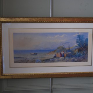Thomas Charles Leeson Rowbotham - Watercolour 1871 - Italian Coastal Scene