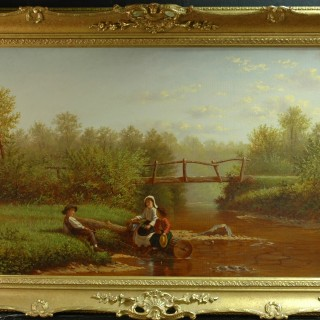William Bromley III - oil on canvas - 1874 - Childrens fishing on a summers day