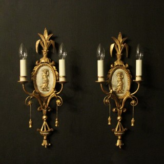 French Pair Of Giltwood Antique Wall Sconces
