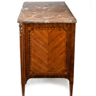 Louis XV/XVI Transitional Tulipwood and Amaranth Marble Commode