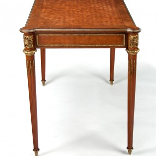 French Louis XVI Style Kingwood Parquetry & Ormolu Mounted Ladies Writing Table