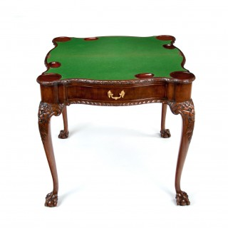Irish George II Style Mahogany Concertina Action Card Table By Howard & Sons