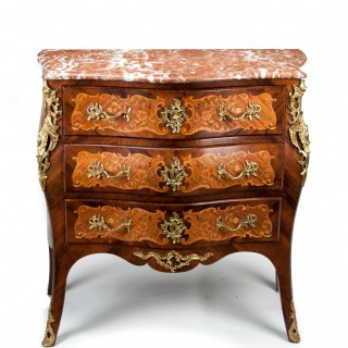 Fine French Louis XV Style Inlaid Bombe Marble Topped Commode