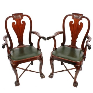 Pair of George II Style Elbow Chairs