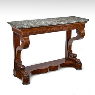 Antique French Flame Mahogany Louis Philippe Console Table