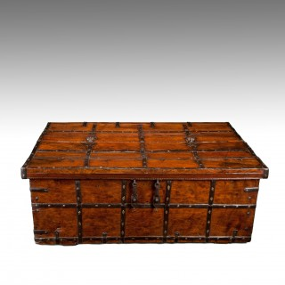 Large Early 19Th Century Teak Anglo-Indian Iron Strapped Chest – Trunk