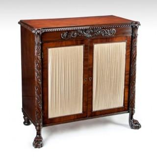 Fine Regency Irish Mahogany Two Door Side Cabinet / Chiffonier