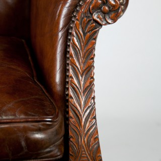 Mid-19th Century Mahogany Leather Wing Armchair