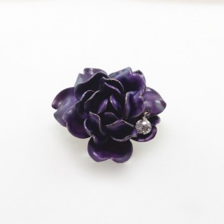 Enamel & diamond flower brooch / pendant by Tiffany & Co