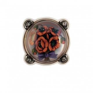 A reverse intaglio poppy brooch