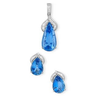 Aquamarine and Baguette Diamond Pendant & Earrings Suite