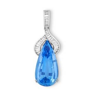 Aquamarine and Baguette Diamond Pendant & Earrings Suite