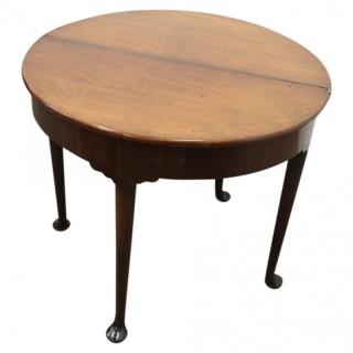 Rare George II Red Walnut Demi-Lune Foldover Table