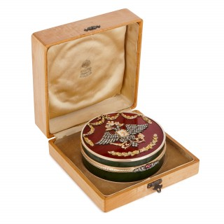 Gold, guilloche enamel and precious stone box in the style of Faberge