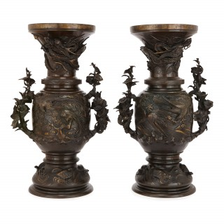 Pair of large bronze vases, Japan 19th Century