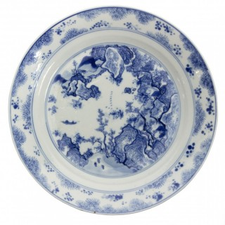 Kangxi Blue and White Plate painted with Master of the Rocks