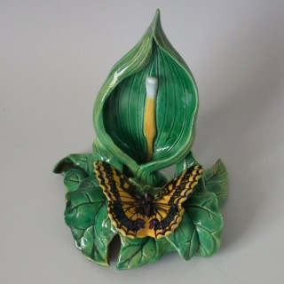 George Jones Majolica Butterfly Watch Stand